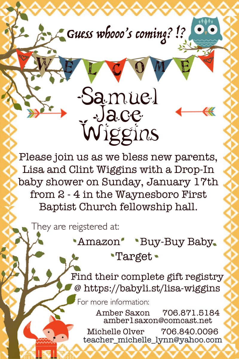 Updated Info On Wiggins Baby Shower And Meals First Baptist Church